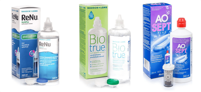 3 boxes of contact lens solution
